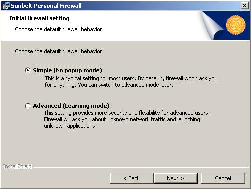 Režimy Sunbelt Personal Firewall